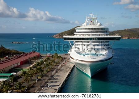 Cruise Ship in St. Thomas, Caribbean - stock photo