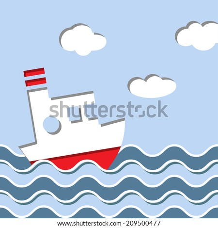 Cruise ship in the ocean illustration - stock photo