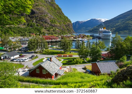 Cruise ship in the port of Flam, Norway. - stock photo