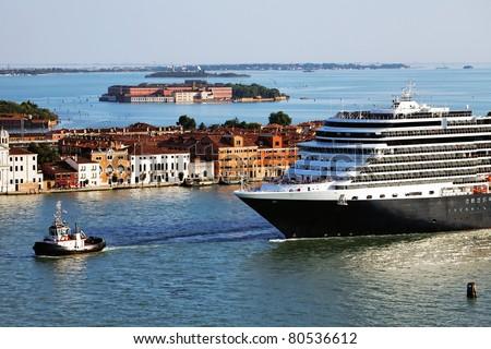 Cruise Ship in Venice, Italy - stock photo