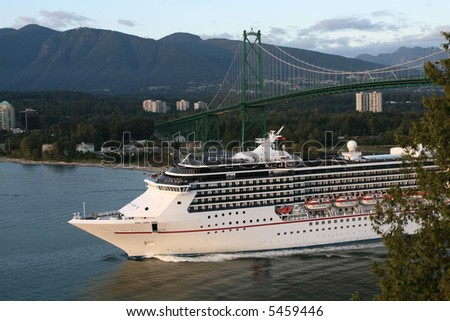 Cruise Ship Leaving City - stock photo