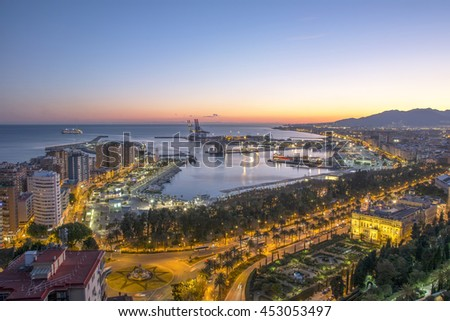 Cruise Ship Leaving Malaga Port Spain - stock photo