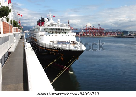 Cruise ship moored at Canada place in Vancouver BC Canada. - stock photo