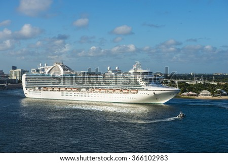 Cruise ship ocean sea luxury travel vacation massive modern boat caribbean Ft Fort Lauderdale pier dock port - stock photo
