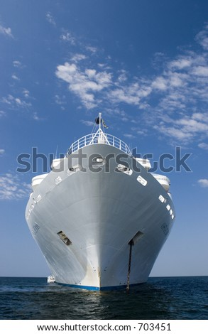 cruise ship  on the ocean during a sunny summer day ouside the island of Gotland in the Baltic sea in Sweden - stock photo