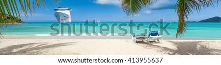 Cruise ship tropical beach - stock photo