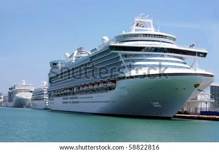 cruise-ships at quay - stock photo