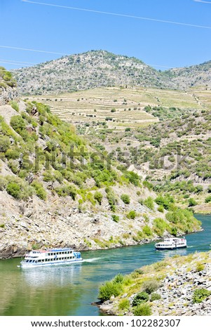 cruise ships in Douro Valley, Portugal - stock photo