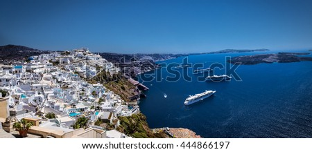 Cruise ships in Thira on Santorini island, Greece - stock photo