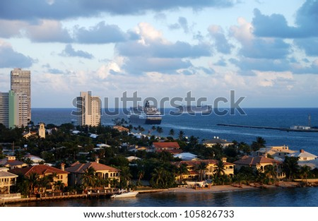 Cruise ships leaving Fort Lauderdale at sunset - stock photo