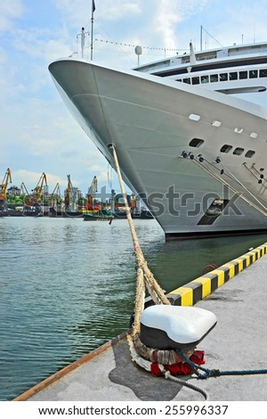 Cruise tourist ship and bollard in port of Odessa, Ukraine - stock photo