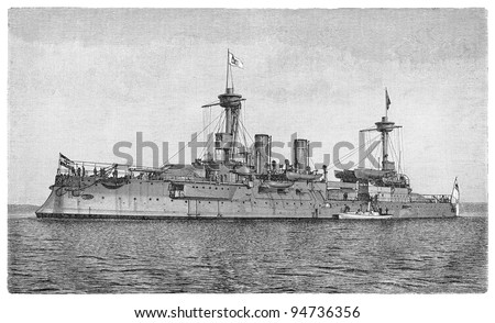 Cruiser Brandenburg (Germany) / vintage illustration from Meyers Konversations-Lexikon 1897 - stock photo