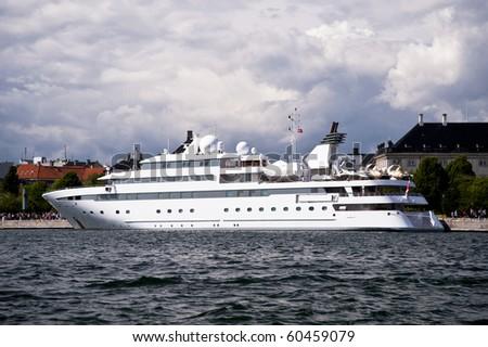 Cruiser in the Port of Copenhagen - stock photo
