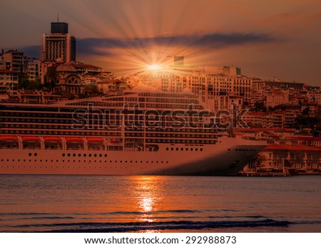 Cruises Ship in istanbul - stock photo