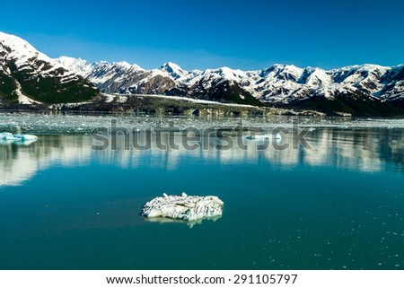 Cruising through Inside Passage in Alaska near Hubbard Glacier. - stock photo