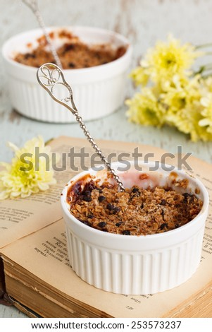 Crumble with figs and apples. selective focus. - stock photo