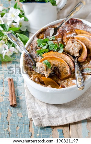 Crumble with peaches - stock photo