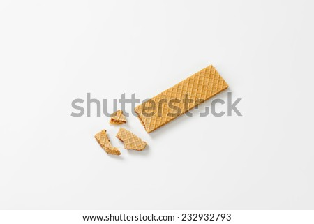 crumbled flat wafer with filling - stock photo