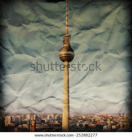 Crumbled paper Berlin dark - stock photo