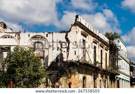 Crumbling buildings in Havana - stock photo