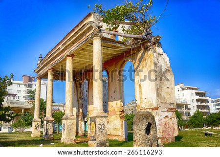 Crumbling infrastructure of Havana, Cuba - stock photo
