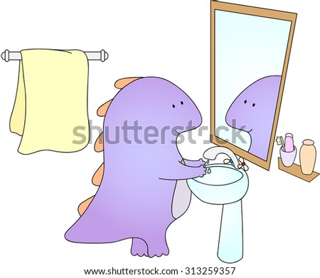 Crummy bellied dragon is washing his hands. - stock photo