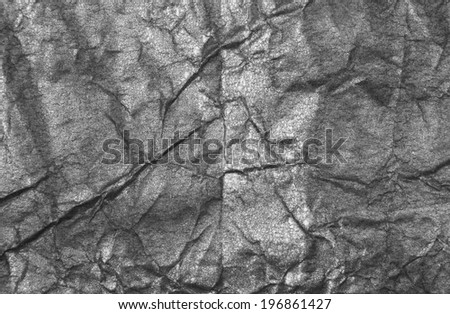 Crumpled Aluminum Foil Background Texture - stock photo