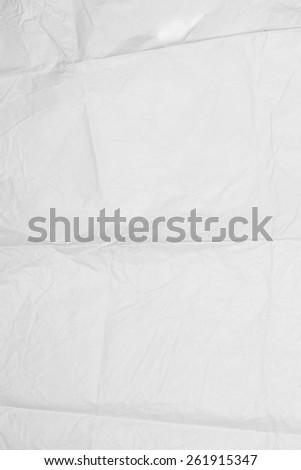 Crumpled and folded white paper with texture background. - stock photo