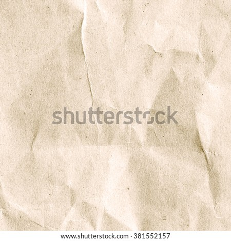 crumpled art paper texture for backgrounds in vintage color cream tone style:detail of creased/crinkle/scruffy of paper texture.art soft brown colored tone wallpaper pattern:disheveled carton backdrop - stock photo