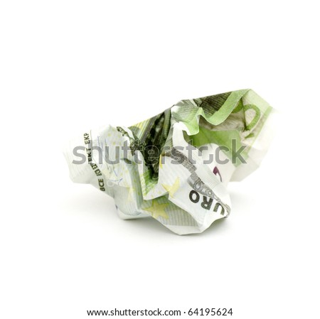 crumpled banknote in a hundred euros on a white background. - stock photo