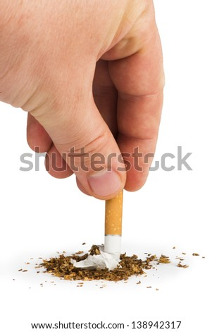 Crumpled cigarette and tabaco - stock photo