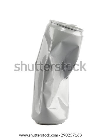 Crumpled empty blank soda or beer can garbage, - stock photo