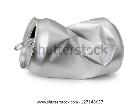 Crumpled empty blank soda or beer can garbage, Realistic photo image.     Crushed junk can can recycle  isolated on white background - stock photo