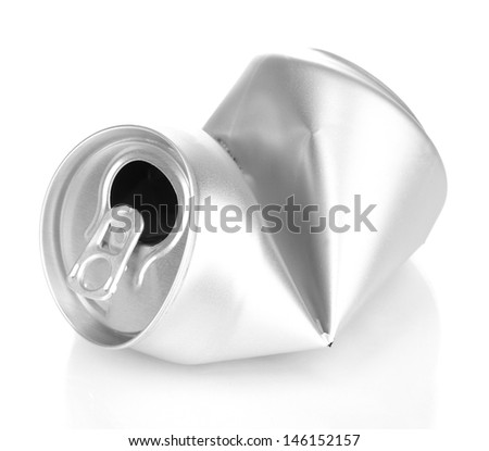 crumpled empty can isolated on white  - stock photo