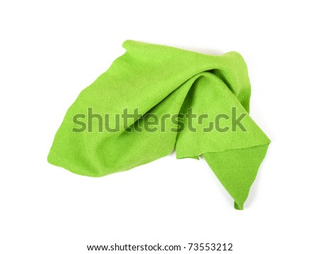 Crumpled green microfiber cloth isolated on white background - stock photo