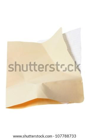 Crumpled Manila Folder on White Background - stock photo