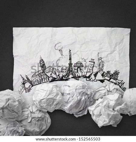 crumpled paper and traveling around the world as concept - stock photo