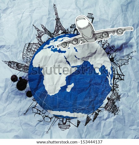 crumpled paper and traveling around the world as vintage style concept - stock photo