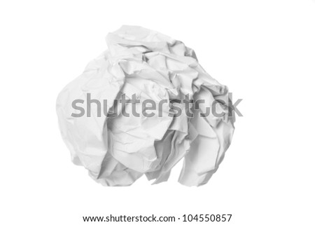 Crumpled paper ball isolated - stock photo