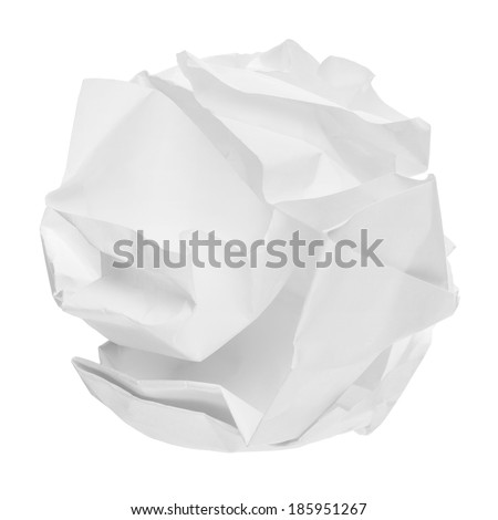 crumpled paper ball on a white background - stock photo