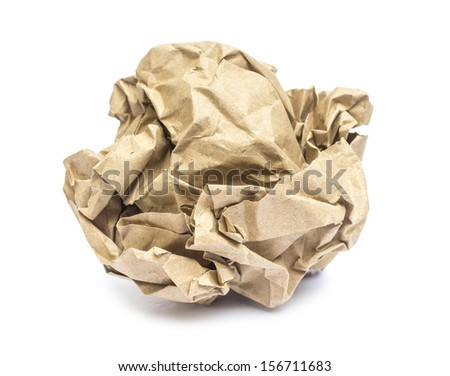 Crumpled paper isolated on white  - stock photo