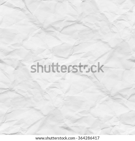 crumpled paper texture white background - stock photo