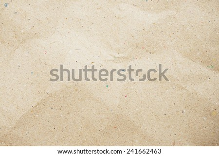 crumpled recycle paper texture - brown paper sheet - stock photo