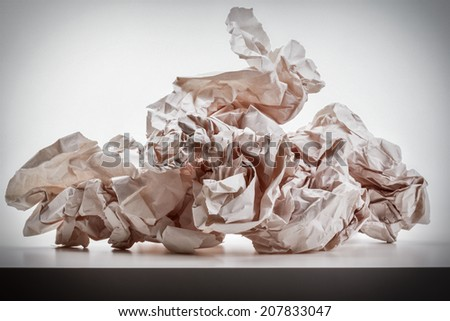 Crumpled sheet of paper.  - stock photo