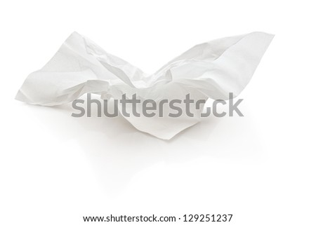 crumpled tissue paper with clipping path - stock photo