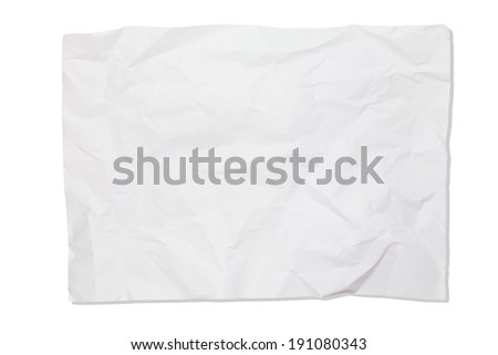 Crumpled white paper isolate on white background - stock photo