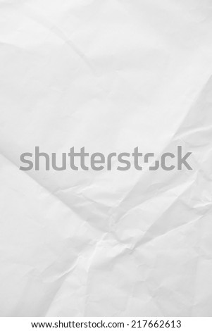 Crumpled white paper texture background - stock photo