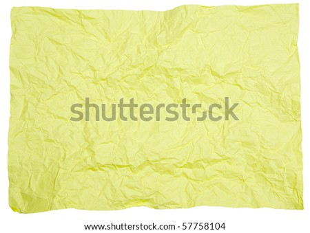 Crumpled yellow paper for text and background - stock photo