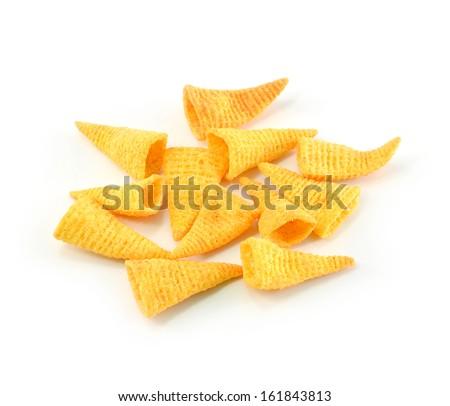 Crunchy corn snacks on a white background  - stock photo