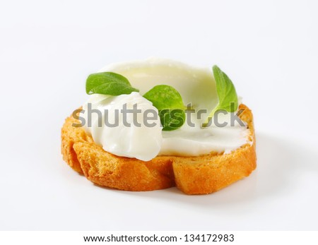 crunchy cracker with creamy spread and herbs - stock photo